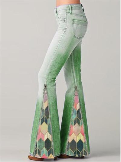 Classic Pocket Flared Style Washed Effect Geometric Print Full-Length Denim Jeans