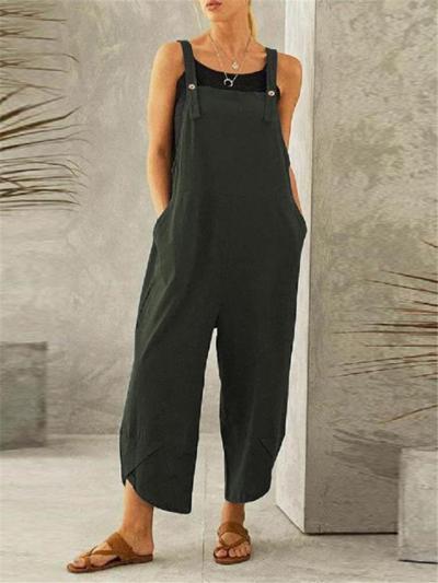 Oversized Style Cotton-Blend Square Neck Sleeveless Pocket Straight-Leg Overalls