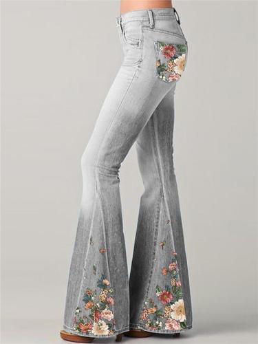 Full-Length Flared Style Classic Pocket Belt Loop Floral Print Design Denim Jeans