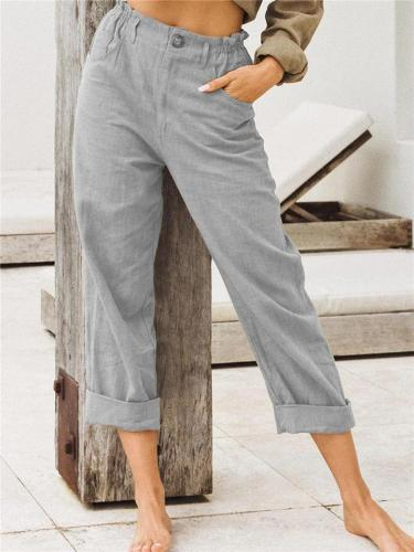 Casual Style Elastic Waistband Button Fastening Straight Leg Cotton Full-Length Pants