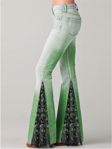 Flared Style Classic Pocket Belt Loop Side Print Full-Length Denim Jeans