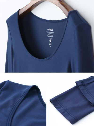Slim Cut Scoop Neck Long Sleeve Soft Touch Stretchy Modal Base Layer Tops
