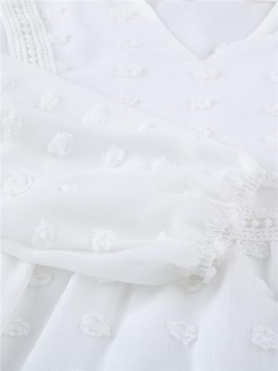 Notched Neck Lace Panel Swiss Dot Long Sleeve Elastic Cuff Chiffon Blouse