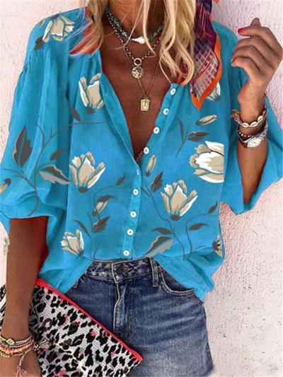 Relaxed Shape Classic Collar All-Over Floral Print Long Sleeve Front Button Blouse