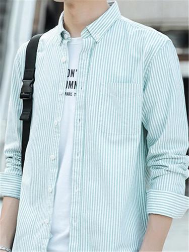 Casual Cotton Stripe Slim Fit Long Sleev Shirts