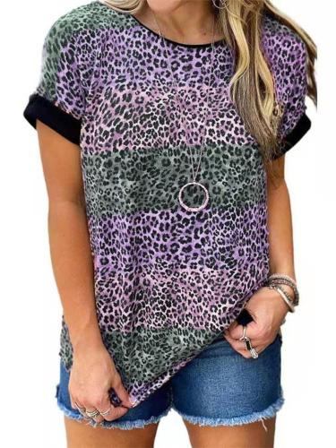 Relaxed Fit Cotton-Blend Crew Neck Leopard Print Contrasting Color Straight Hem T-Shirt