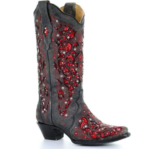 Ethnic Style Side Zip Fastening Pointed Toe Embroidered Design Mid Block Heel Boots