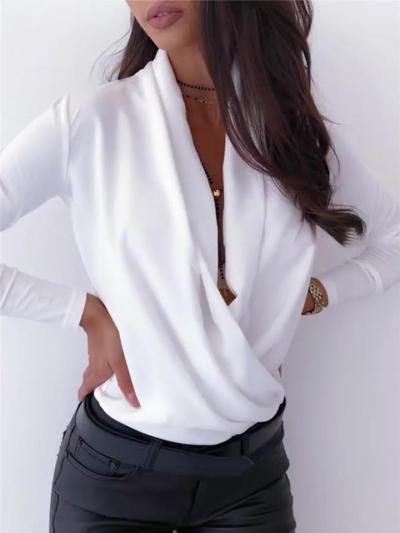 On-Trendy Snake Pattern Wrap Neck Long Sleeve Pullover Lightweight Tops