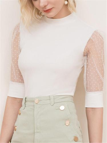 On-Trendy Ribbed Design See-Through Half Sleeve Swiss Dot Detailing Pullover Tops