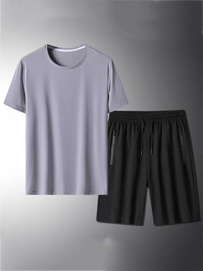 Casual Breathable Comfy Workout Short Sleeved T-Shirts+Shorts