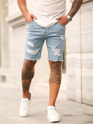 Fashion Slim Fi Comfy Distressed Knee Shorts