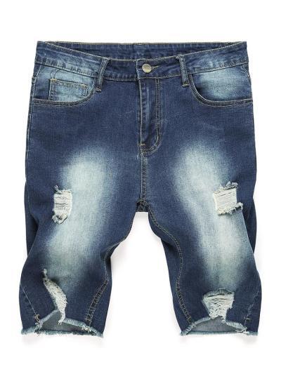 Fashion Slim Fi Comfy Distressed Knee Shorts