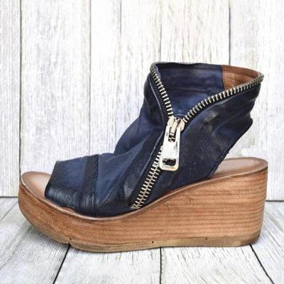 Ladies Platform Wedge Open Toe Back Cutout Design Zipper Fastening Sandals