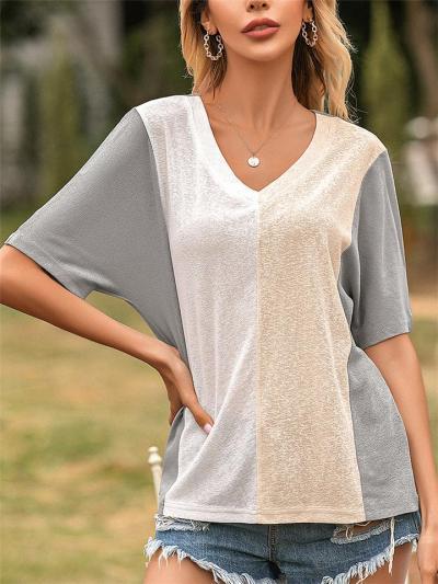 Laid-Back Style V Neck Contrasting Color Short Sleeve Straight Hem T-Shirt
