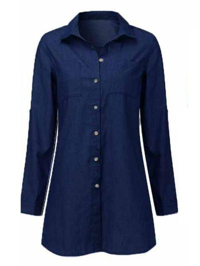 Classic Collar Chest Pocket Front Button Fastening Midi Length Denim Blouse