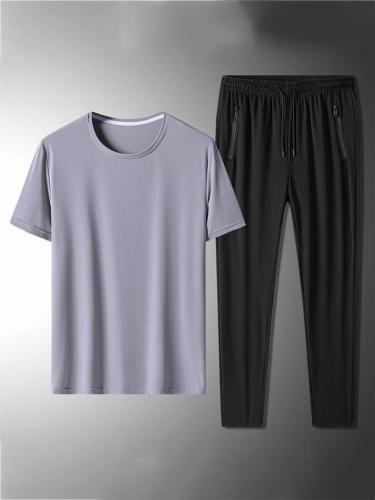 Workout Elastane Breathable Short Sleeved T-Shirts+Pants