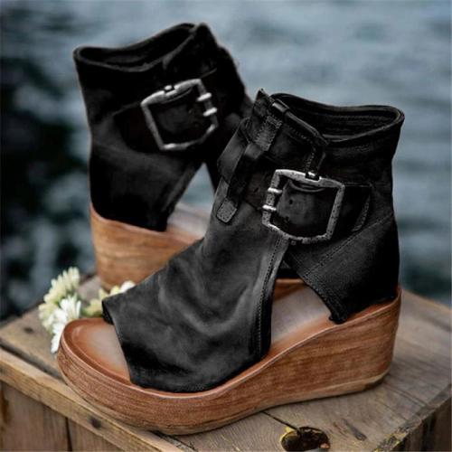 High Top Platform Wedge Open Toe Side Cutout Design Buckle Fastening Sandals