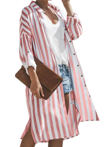Straight Silhouette Classic Collar Side Slit Vertical Striped Print Midi Length Tops