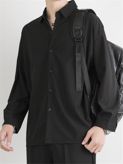 Mens Soft Breathable Loose Pure Color Casual Long Sleece Shirts