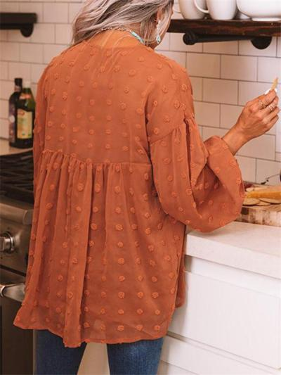 Relaxed Fit Oversized V Neck Semi Sheer Long Sleeve Swiss Dot Lightweight Blouse
