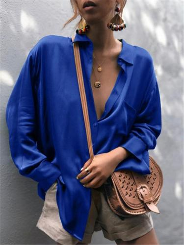 Relaxed Loose Fit Classic Collar Front Button Fastening Chest Pocket Long Sleeve Blouse