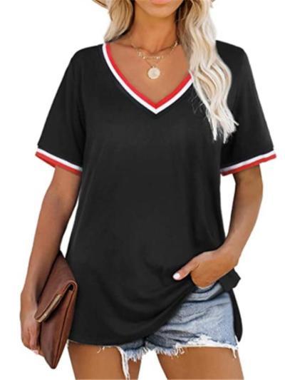 Casual Style V Neck Contrasting Trim Short Sleeve Straight Hem T-Shirt
