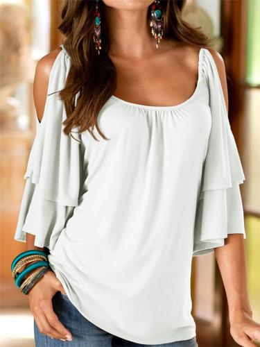 On-Trendy Scoop Neck Layered Detailing Half Sleeve Shoulder Cutout Design Pullover Tops