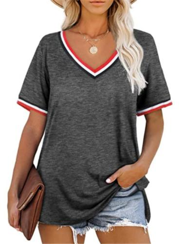 Casual Style V Neck Contrasting Trim Short Sleeve Straight Hem T-Shirt