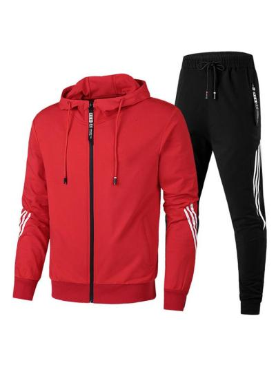Mens Sports Stripe Cotton Long Sleeved Outwears+Pants