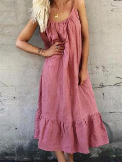 Vintage Style Scoop Neck Spaghetti Strap Ruffled Hem Midi Pullover Dress