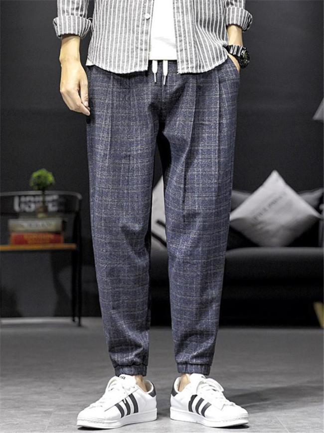 Causal Breathable Plaid Pattern Fashion Comfy Pants