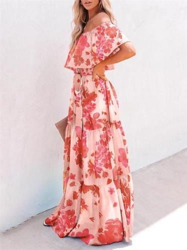 Multicolor Waist-Tie Fastening Off-Shoulder Tiered-Ruffle Gathered Detailing Dress