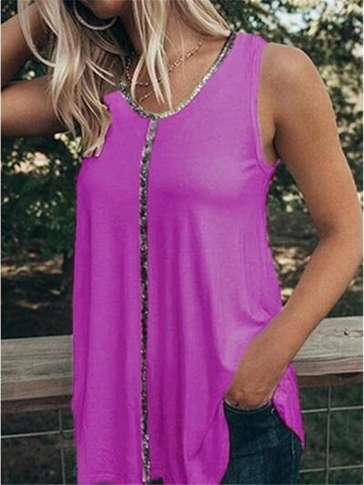 Relaxed Shape Round Neck Sleeveless Sequined Straight Hem Tank Top