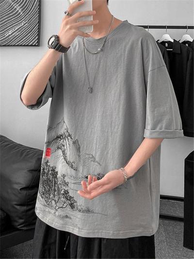 Mens Cotton Print Short Sleeve Casual Loose T-shirts