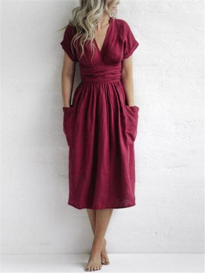 Wraparound Style Cotton Linen Waist-Tie Fastening Pleated Detailing Pocket Dress