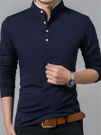 Business Slim Fit Contrast Color Casual Long Sleeve Shirts For Men