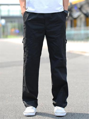 Mens Loose Straight Pure Color Cargo Pants