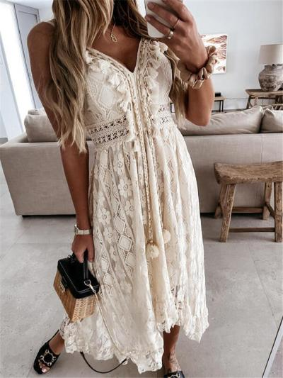 Floral Lace High-Low Hem Adjustable Spaghetti Strap Tie-Front Cutout Dress Mid-Length Dress