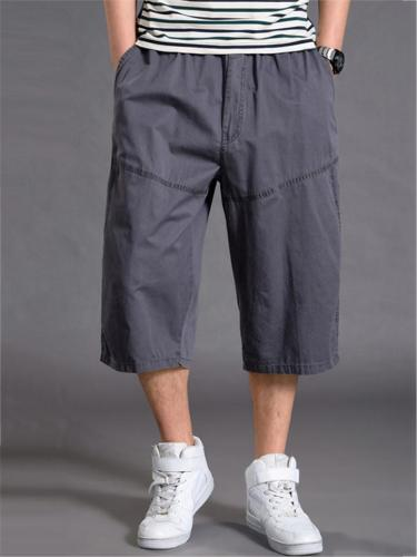 Mens Loose Stitching Pure Color Sweatpants
