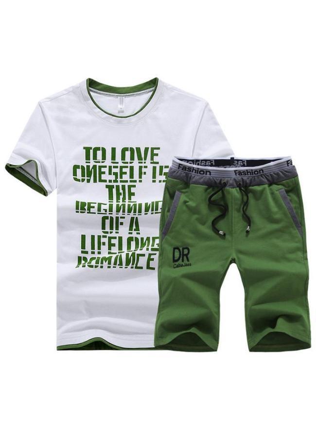Comfy Casual Print Short Sleeved T-Shirts+Shorts