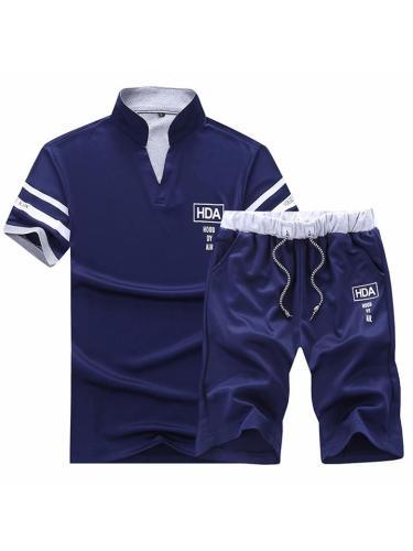 Loose Casual Breathable Print Short Sleeved T-Shirts+Shorts