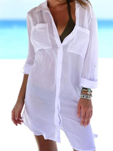 Semi-Sheer Side Slit Curved Hem Chest Pocket Classic Collar Thigh-Length Beach Blouse