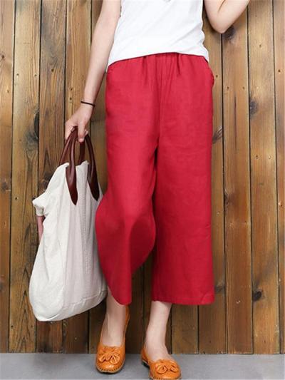 Leisure Straight Silhouette Elastic Waistband Linen Cotton Side Pocket Wide-Leg Capri Pants