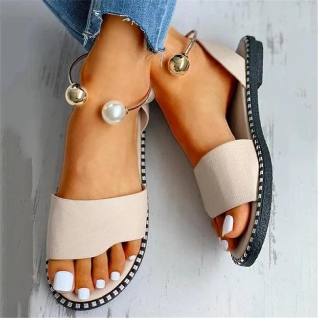 Leisure Style Open-Toe Contrast Stitching Slingback Ankle Bracelet Detailing Flat Sandals
