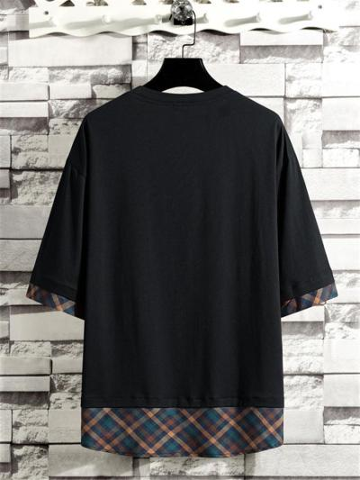 Mens Casual Patchwork Cotton Loose T-Shirts