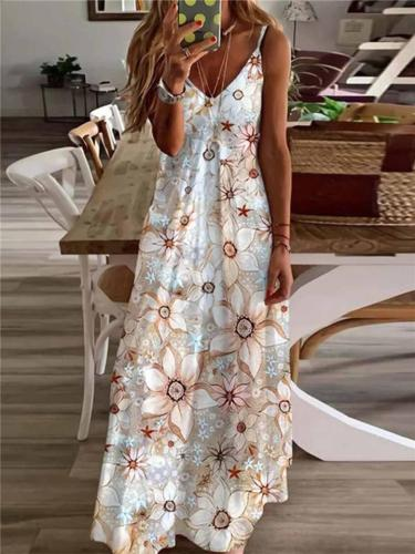 Spaghetti Strap Sleeveless V-Neck Mid-Length Multicolor All-Over Print Loose Fit Dress