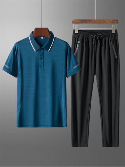 Relaxed 2 Piece Set Striped Trim Polo Neck Shirt + Drawstring Elastic Waistband Pants