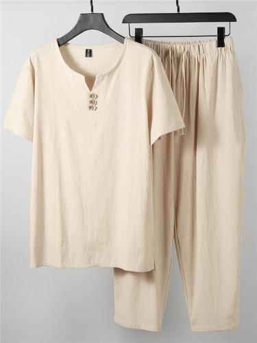 Laid-Back Style Notched Neck Button Detailing Soft Cotton Set T-Shirt + Drawstring Pants