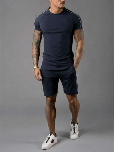 Workout Style Crew Neck Contrast Striped Detailing Set T-Shirt + Pocket Shorts
