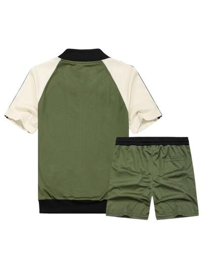 Workout 2 Piece Set Contrasting Front Zipper T-Shirt + Drawstring Waistband Shorts